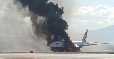 Plane on fire